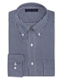 Camicia elegante a quadretti bianca e blu scuro