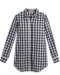 Camicia elegante a quadretti bianca e nera