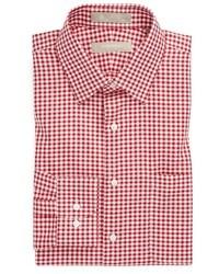 Camicia elegante a quadretti bianca e rossa