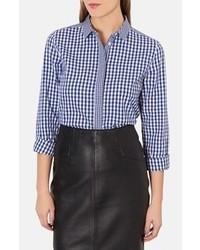 Camicia elegante a quadretti blu scuro e bianca