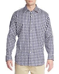 Camicia elegante a quadretti blu scuro