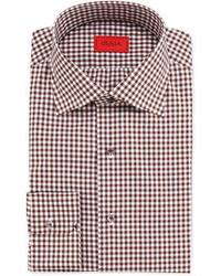 Camicia elegante a quadretti marrone