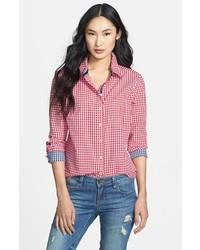 Camicia elegante a quadretti rossa e bianca