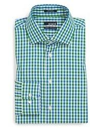 Camicia elegante a quadretti verde