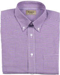 Camicia elegante a quadretti viola melanzana