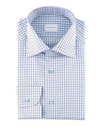 Camicia elegante a quadri bianca e blu