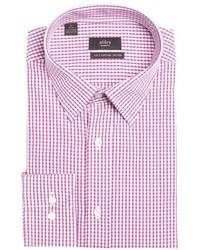 Camicia elegante a quadri bianca e rossa