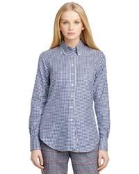 Camicia elegante a quadri blu scuro e bianca
