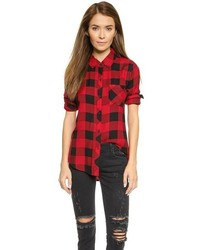 Camicia elegante a quadri rossa e nera