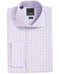 Camicia elegante a quadri viola chiaro