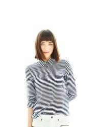 Camicia elegante a righe orizzontali bianca e blu scuro