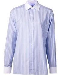 Camicia elegante a righe verticali azzurra