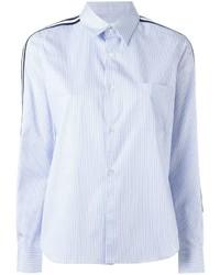 Camicia elegante a righe verticali azzurra di Comme des Garcons