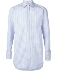 Camicia elegante a righe verticali azzurra di Victoria Beckham