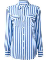 Camicia elegante a righe verticali bianca e blu