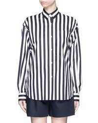 Camicia elegante a righe verticali bianca e blu scuro