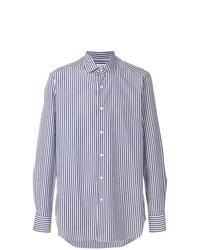Camicia elegante a righe verticali bianca e blu scuro di Bagutta