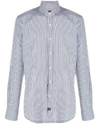 Camicia elegante a righe verticali bianca e blu scuro di Fay