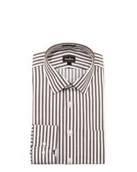 Camicia elegante a righe verticali bianca e marrone