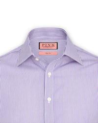 Camicia elegante a righe verticali bianca e melanzana