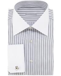 Camicia elegante a righe verticali bianca e nera