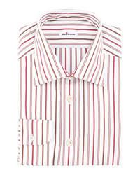 Camicia elegante a righe verticali bianca e rossa
