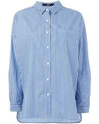 Camicia elegante a righe verticali blu