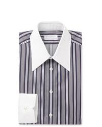 Camicia elegante a righe verticali blu scuro e bianca