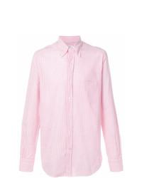 Camicia elegante a righe verticali rosa di Loro Piana