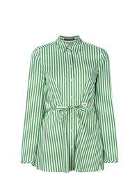 Camicia elegante a righe verticali verde menta di Luisa Cerano