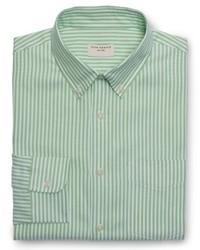 Camicia elegante a righe verticali verde