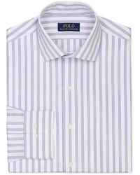 Camicia elegante a righe verticali viola chiaro