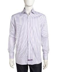 Camicia elegante a righe verticali viola