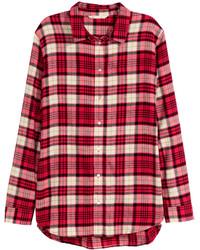 Camicia elegante di flanella a quadri rossa