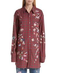 Camicia elegante di flanella scozzese rossa
