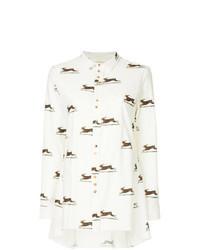 Camicia elegante di lino stampata bianca