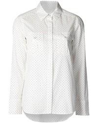 Camicia elegante di seta a pois bianca