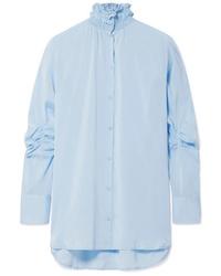 Camicia elegante di seta azzurra