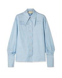 Camicia elegante di seta azzurra di Gucci 3528364044d