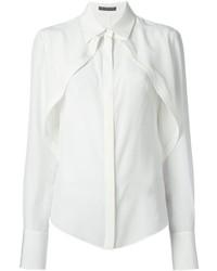 Camicia elegante di seta bianca di Alexander McQueen