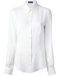 Camicia elegante di seta bianca di Dolce & Gabbana