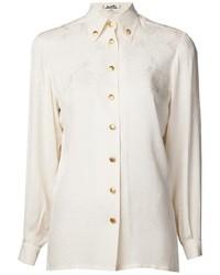 Camicia elegante di seta bianca di Hermes