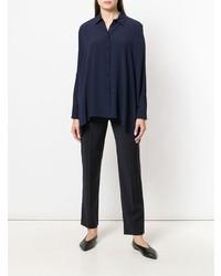 Camicia elegante di seta blu scuro