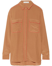 Camicia elegante di seta marrone