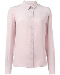 Camicia elegante di seta rosa di Alexander McQueen