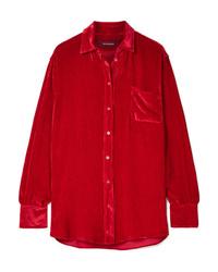 Camicia elegante di seta rossa