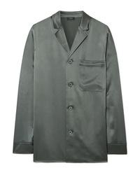 Camicia elegante di seta verde oliva