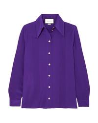 Camicia elegante di seta viola di Gucci