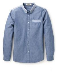 Camicia elegante in chambray blu