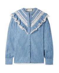 Camicia elegante in chambray con volant blu di Gucci